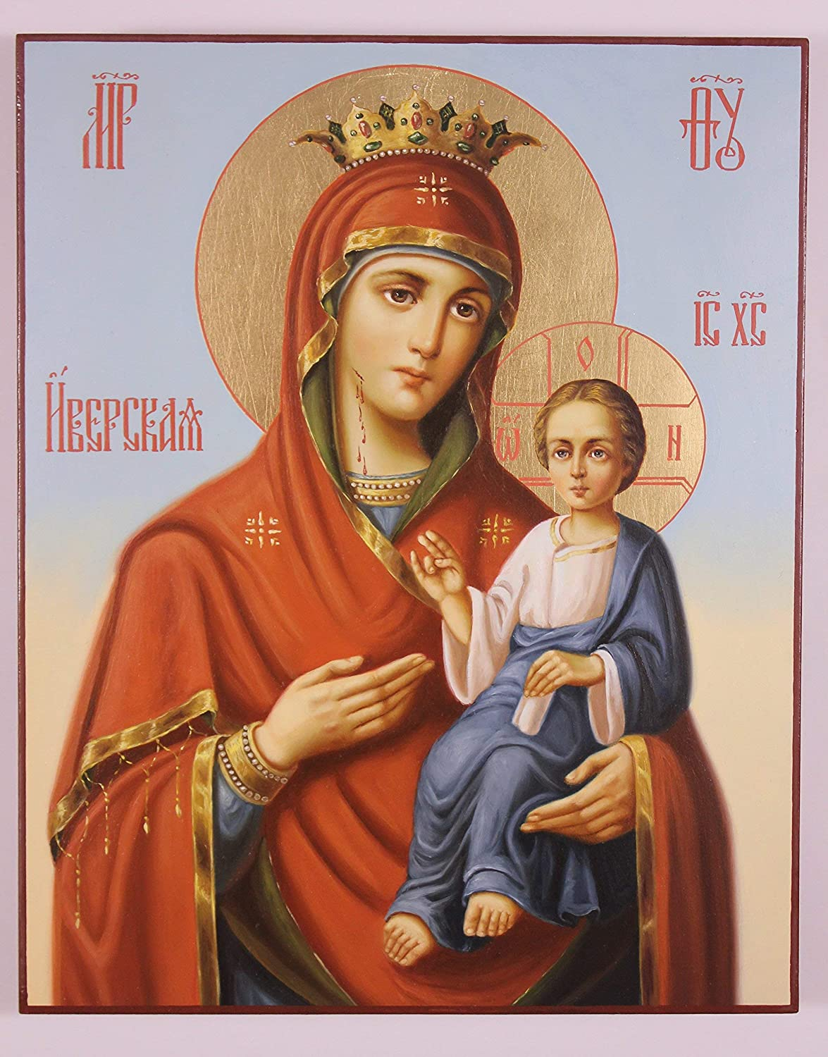 """Our Lady of Iveron Russian Orthodox Icon (30x24 cm), Icon of the Mother of God """"Iveron"""", Panagia Portaitissa, Handpainted icon, Religious painting"""
