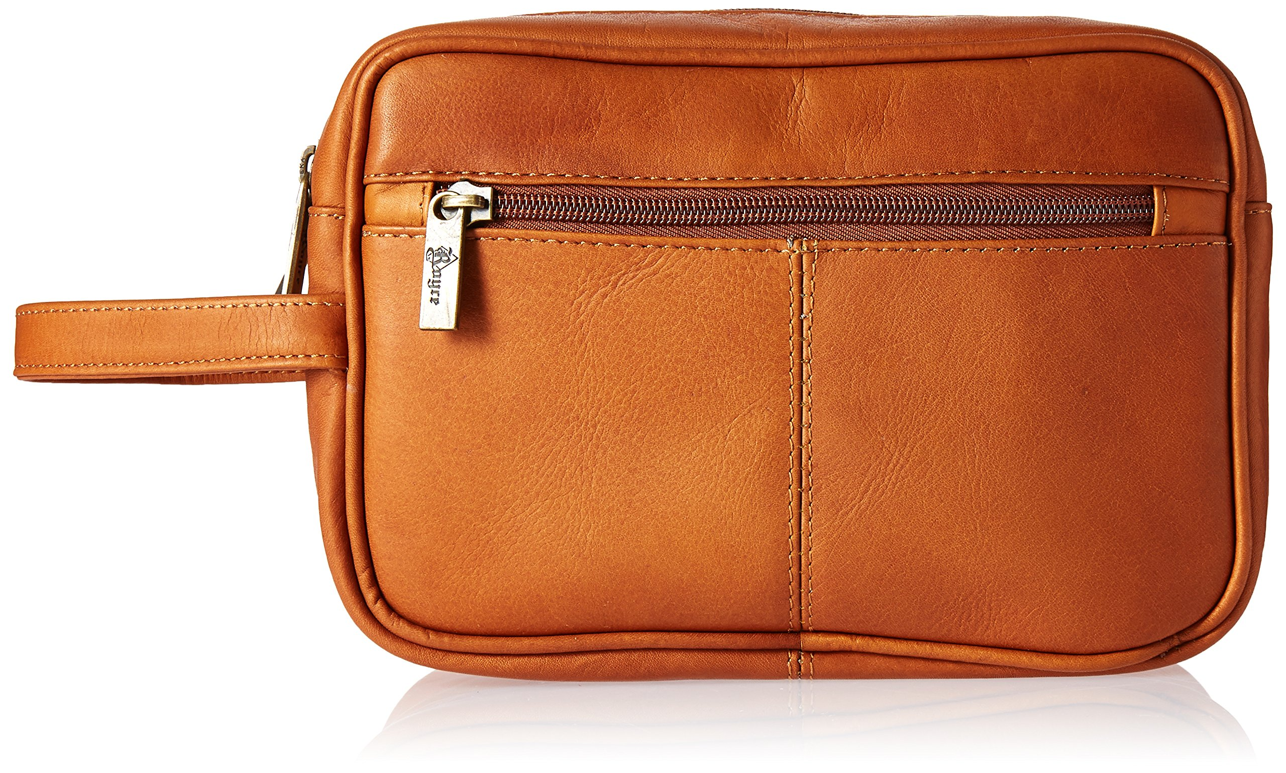 Royce Leather Men's Colombian Leather Travel Toiletry Bag, Tan