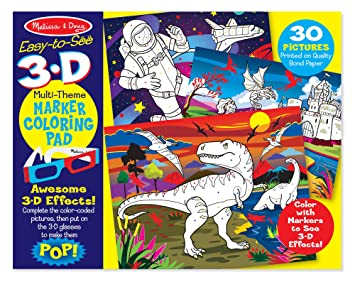 Amazon.com: Melissa & Doug Easy-to-See 3-D Coloring Pad - Dinosaurs ...
