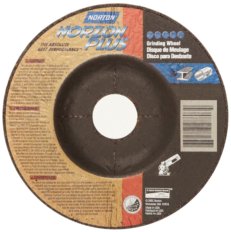 Norton Norzon Plus Depressed Center Abrasive Wheel, Type 27, Zirconia Alumina, 5/8'-11 Hub, 7' Diameter x 1/4' Thickness  (Pack of 10) 5/8-11 Hub 7 Diameter x 1/4 Thickness  (Pack of 10) 66252917881