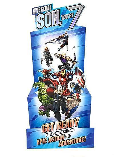 Hijo edad 7 cumpleaños Vengadores Stand Up 3d tarjeta ...