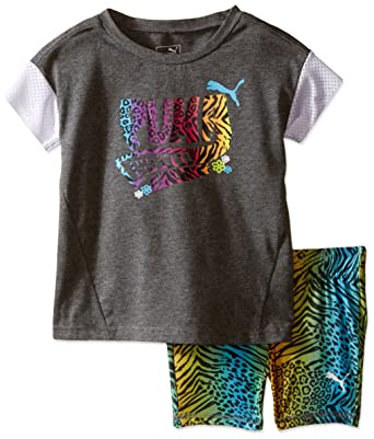fff94c4b25546d Amazon.com  PUMA Girls  Top and Biker Short Set  Clothing