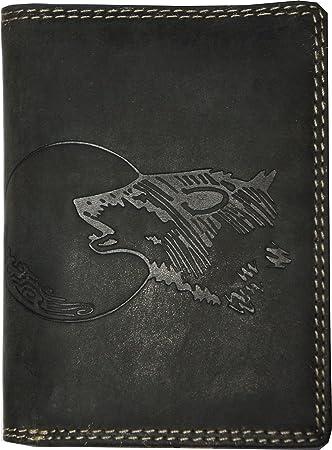 52b8cb91a143d Hochwertige Geldbörse Geldbeutel Portemonnaie Büffel Wild Leder Wolf Mond  geprägt