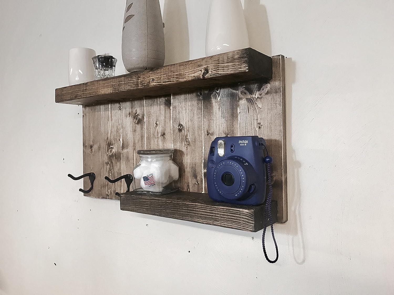 Toalla de baño soporte de pared estantería de madera envejecido con 2 rústico ganchos - nogal oscuro: Amazon.es: Bricolaje y herramientas
