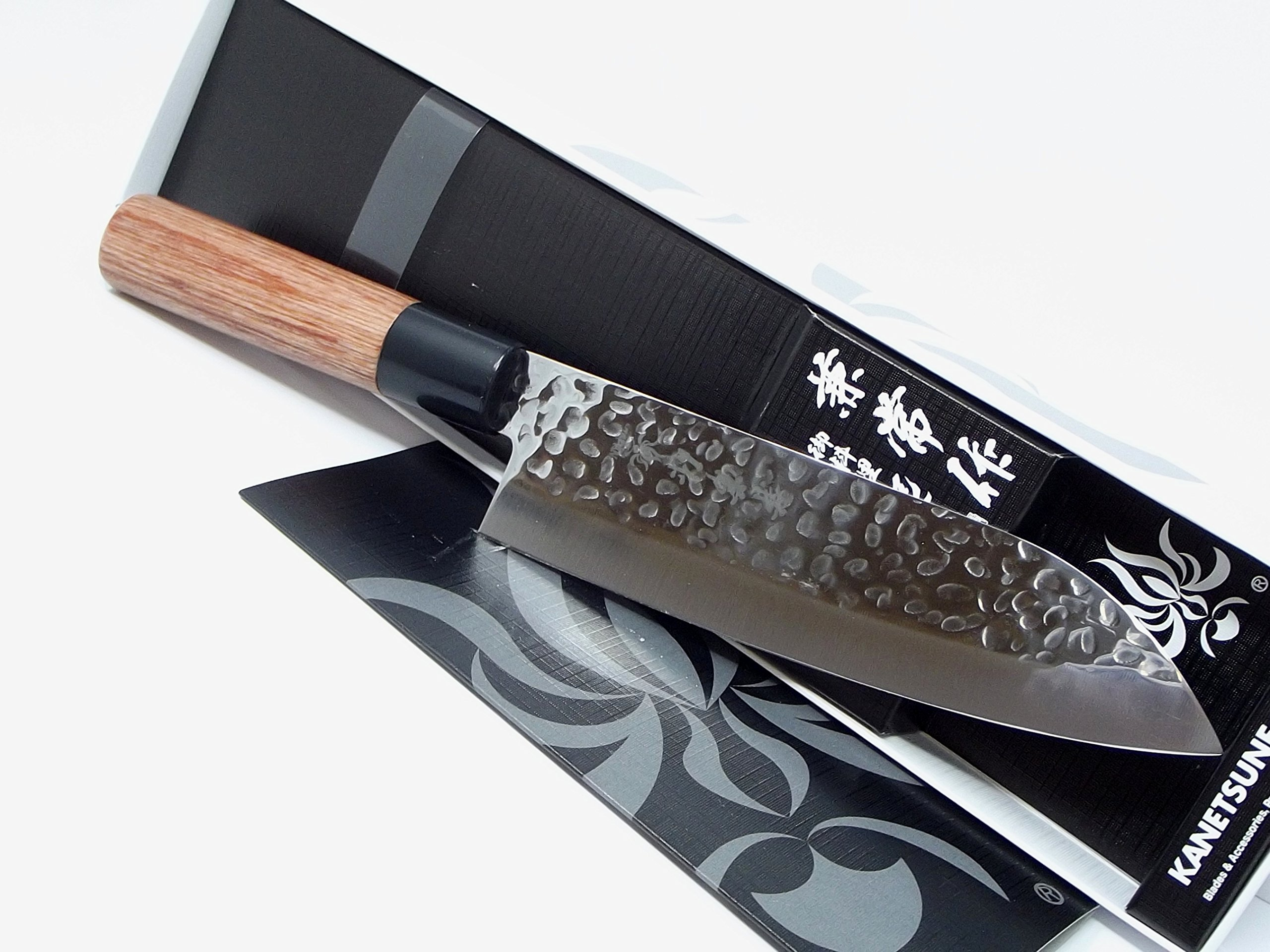 Kanetsune Santoku Japan Made DSR-1K6 High Carbon Stainless Steel Blade finish Tsuchime can make foods release quickly from the blade