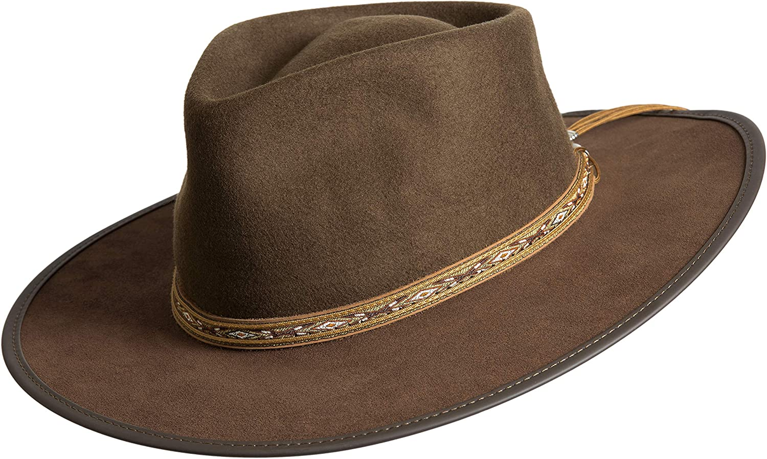 ee7bb9f8e0c Overland Sheepskin Co Bushwick Wool Felt Western Fedora Hat at Amazon  Women s Clothing store