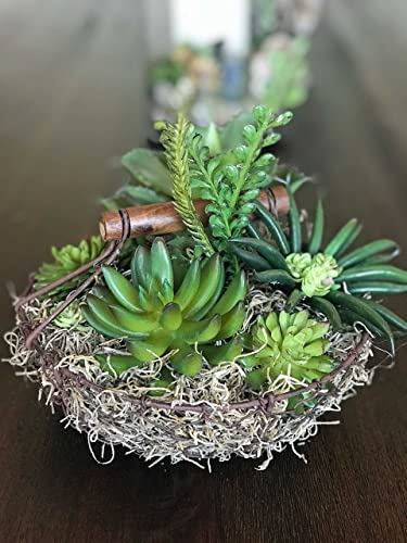 Farmhouse Succulents In Chicken Wire Basket Succulent Table Decor Farmhouse Table  Decor