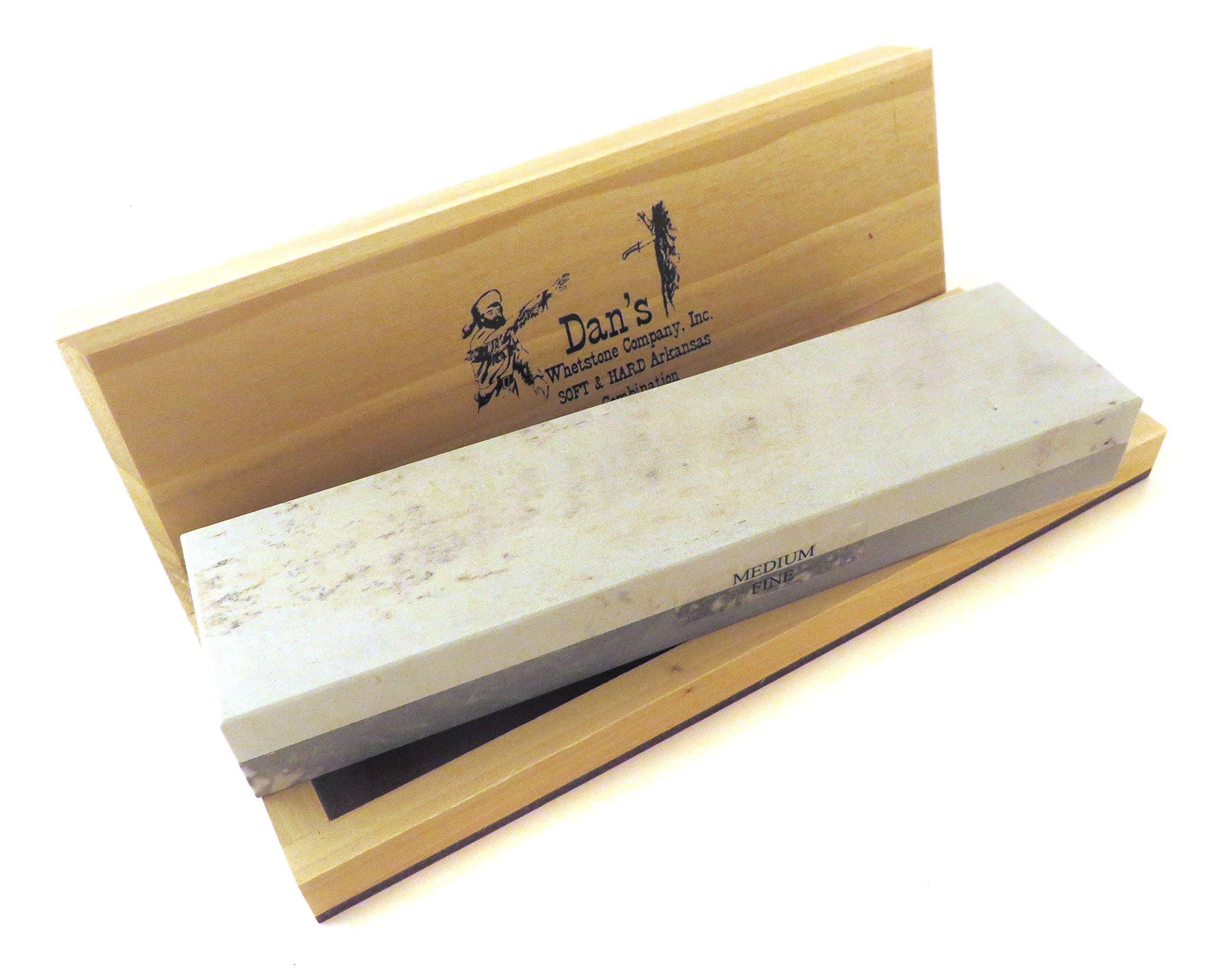 Genuine Arkansas Combination Soft (Medium) and Hard (Fine) Knife Sharpening Bench Stone Whetstone 8'' x 2'' x 1'' in Wood Box MFC-8-C