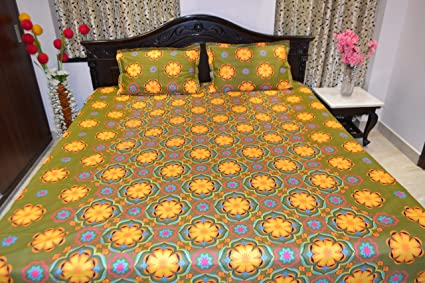 Buy Sgaon Sunflower Design Printed Heavy Double Cotton Bed Sheets
