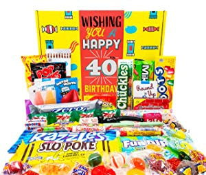 Woodstock Candy 40th Birthday Gift Basket Box of Nostalgic Retro Candy for Men and Women