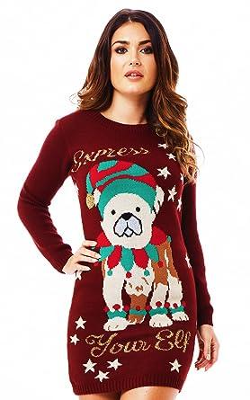 4edb956694c1 Ladies Tunic Christmas Xmas Jumper Sweater Retro Novelty Classic (14/16,  Ladies Express Your Elf Dress): Amazon.co.uk: Clothing