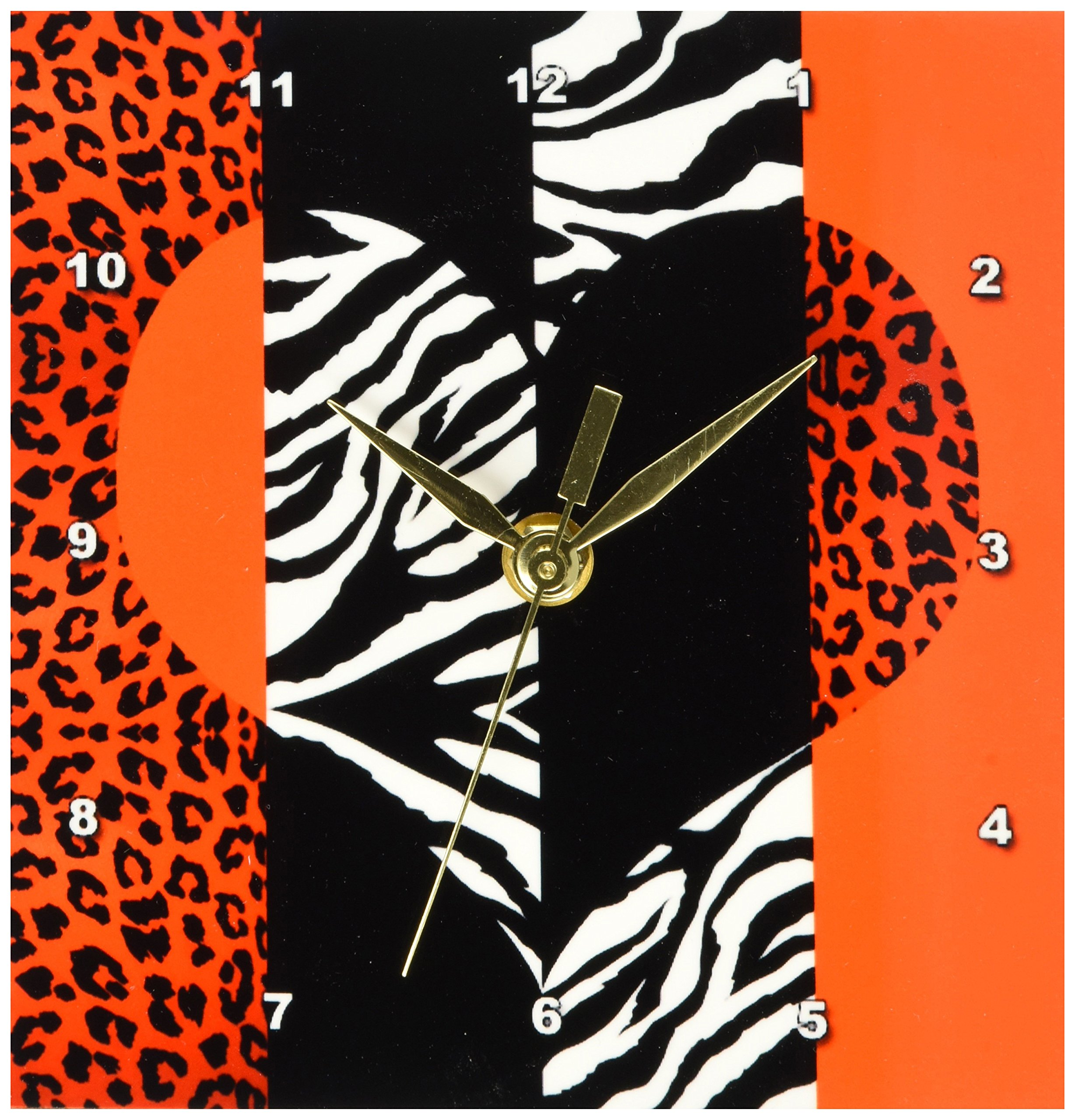 3dRose dc_35439_1 Red, Black, Orange and White Animal Print-Leopard and Zebra Heart-Desk Clock, 6 by 6-Inch