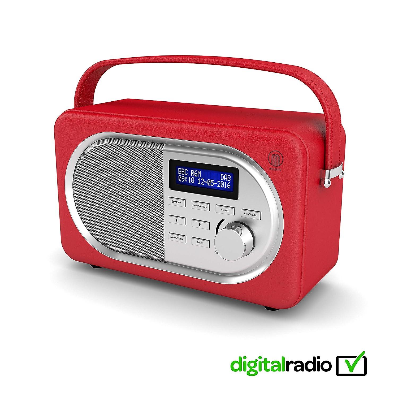 Majority Shelford II Vintage DAB/DAB+ Digital FM Portable Radio, Dual Alarm Clock, Leather Effect Finish, Mains Powered (Red)
