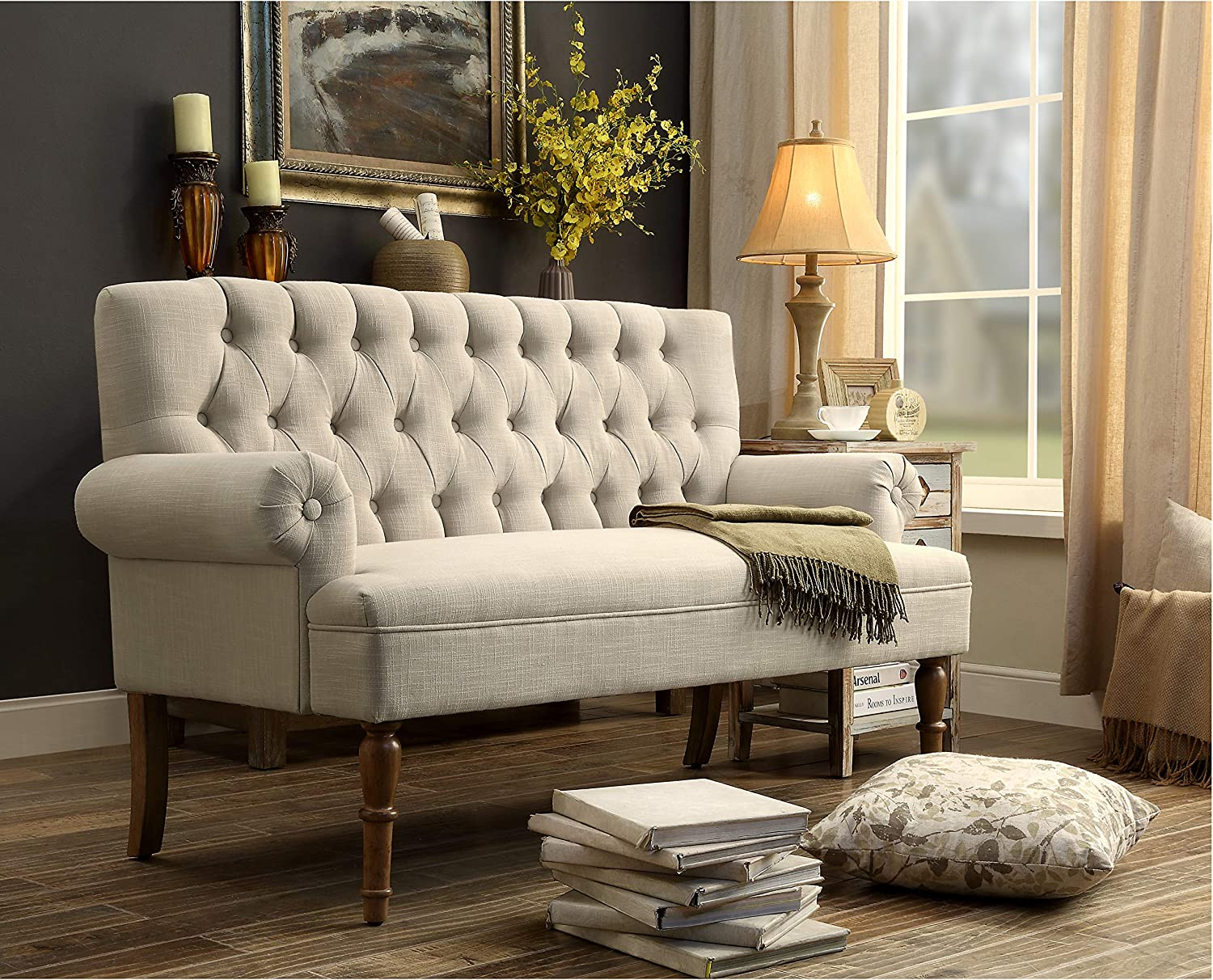 Tufted loveseat in cream is an affordable option for a classic or French inspired living room with elegant style. #loveseat #settee #frenchcountry #furniture #livingroom