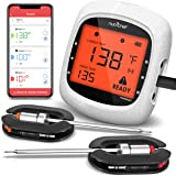 NutriChef Smart Bluetooth BBQ Grill Thermometer - Upgraded Stainless Dual Probes Safe to Leave in Outdoor Barbecue Meat Smoke