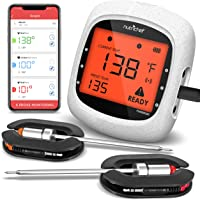 Smart Bluetooth BBQ Grill Thermometer - Upgraded Stainless Dual Probes Safe to Leave in Outdoor Barbecue Meat Smoker…