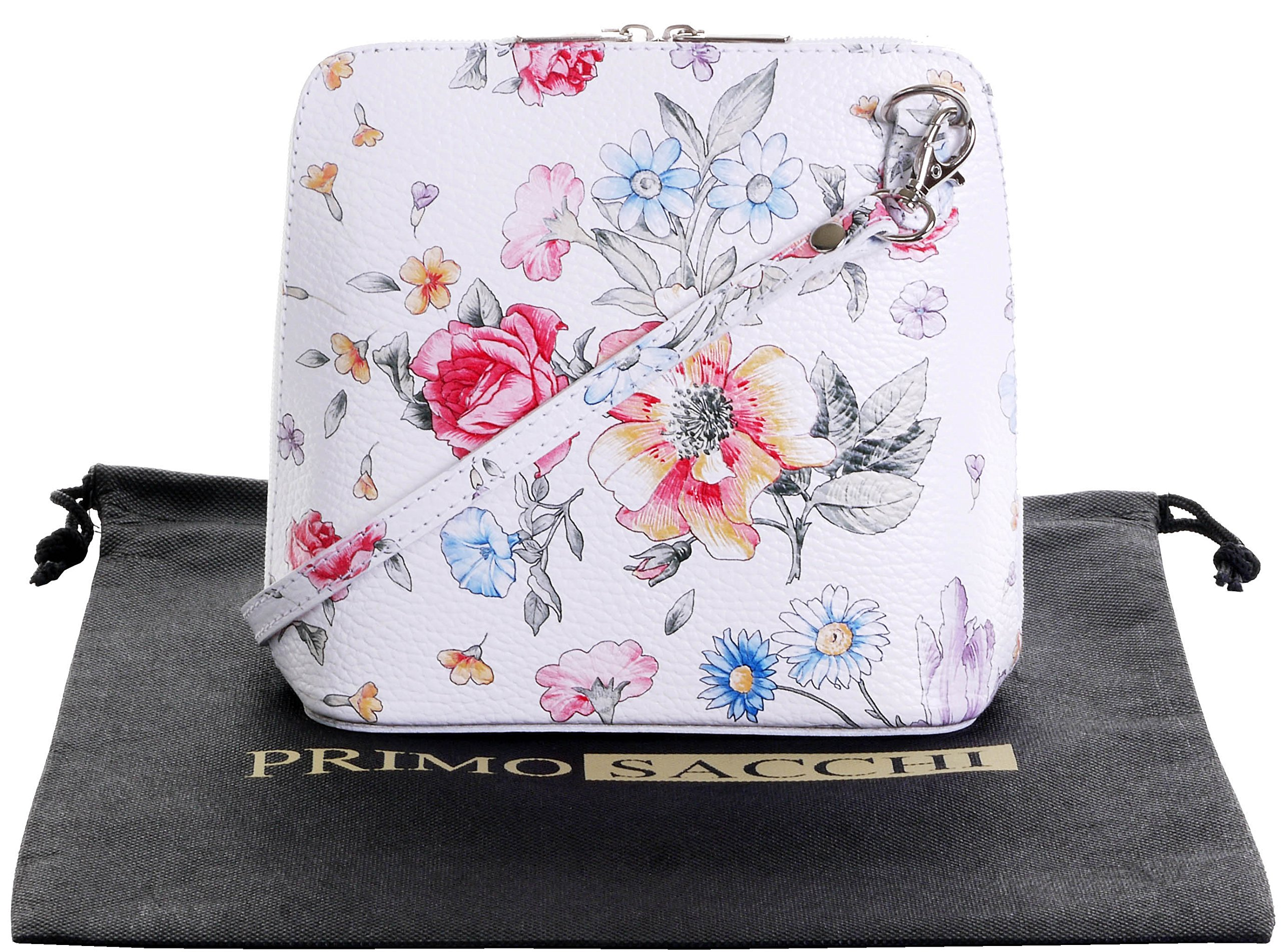 Italian Leather, Floral White Small/Micro Cross Body Bag or Shoulder Bag Handbag. Includes Branded a Protective Storage Bag.