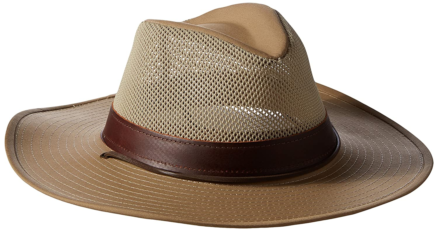 Henschel Men's Hiker Crushable Mesh Breezer With Leather Band UPF 50 Hat
