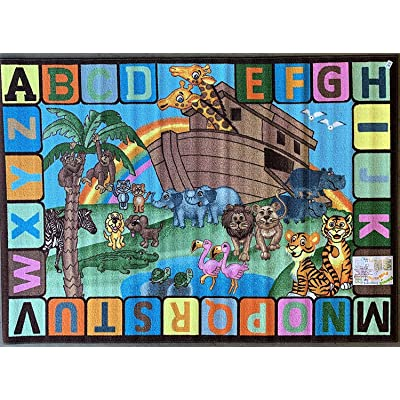 Kids Reversible Alphabet ABC Animal Area Rug Double Sided Educational Classroom Kindergarten Nursery Durable Learning Carpet Noah Design 61 (6 Feet 6 Inch X 9 Feet 9 Inch): Kitchen & Dining
