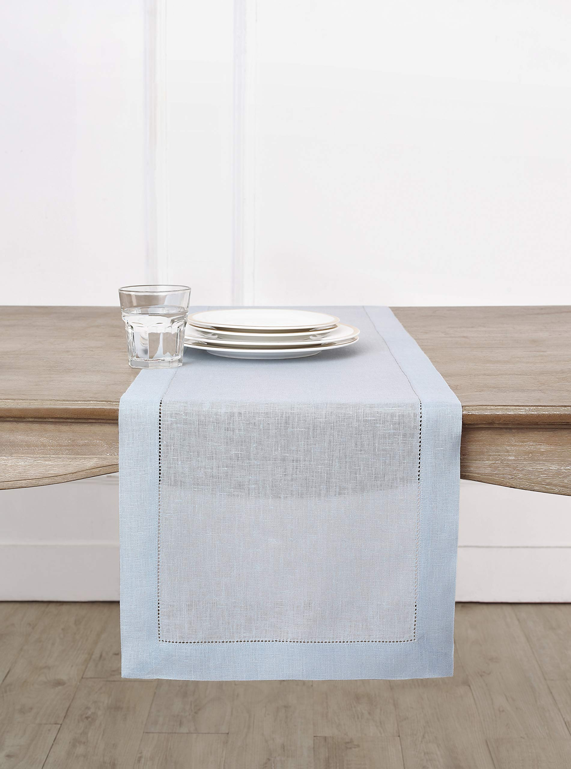 Solino Home Hemstitch Linen Table Runner - 14 x 120 Inch, Handcrafted from European Flax, Machine Washable Classic Hemstitch - Light Blue
