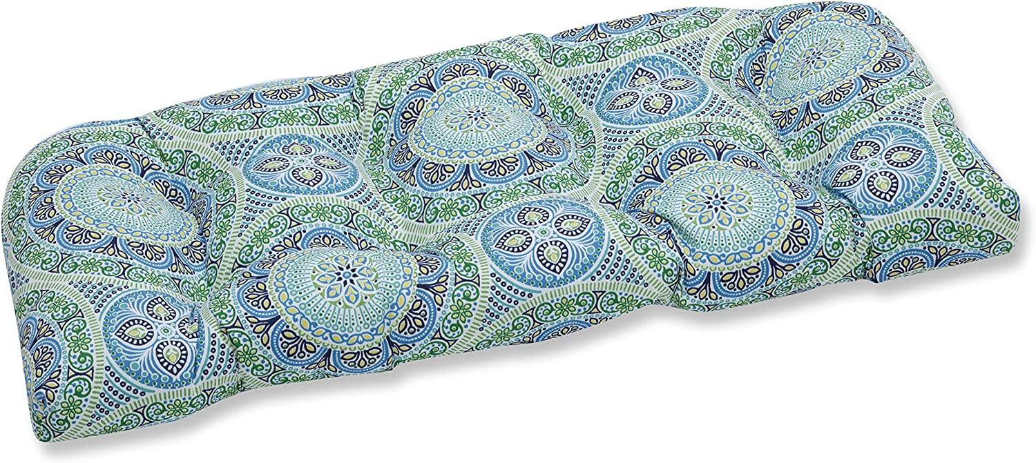 """Pillow Perfect Outdoor/Indoor Delancey Lagoon Tufted Loveseat Cushion, 44"""" x 19"""", Blue"""
