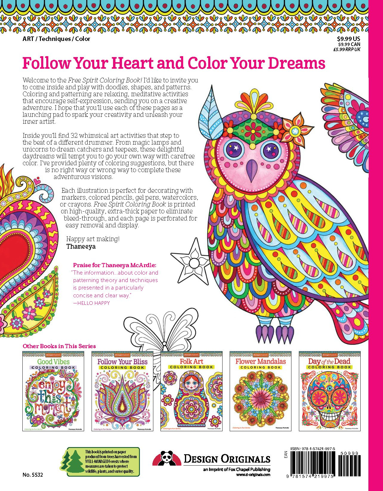 Amazon Free Spirit Coloring Book Is Fun Design Originals 0023863055321 Thaneeya Mcardle Books