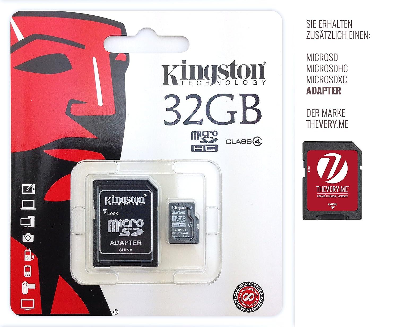 Kingston Technology-Tarjeta de memoria para Sony Xperia M4 Aqua-Kingston-Tarjeta de memoria microSDHC clase 4, 32 GB, con adaptador para SD-chip de memoria de ampliación de memoria.