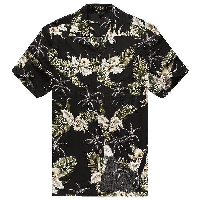 b0d19433 Made in Hawaii Men's Hawaiian Shirt Aloha Shirt Hibiscus Black: Amazon.ca:  Clothing & Accessories