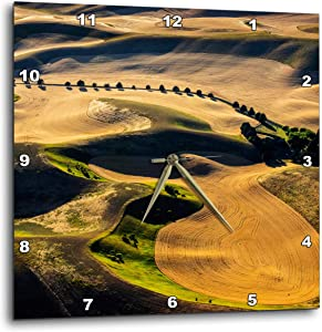 3dRose Aerial of Harvest in The Rolling Hills of The Palouse, WA - Wall Clocks (DPP_333019_3)