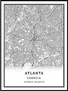 Squareious Atlanta map Poster Print | Modern Black and White Wall Art | Scandinavian Home Decor | Georgia City Prints Artwork | Fine Art Posters 11x14
