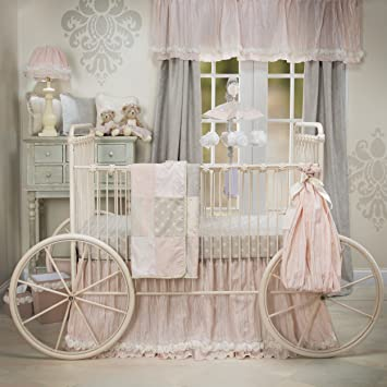 glenna jean contessa quilt crib skirt with sheet set pinkcream