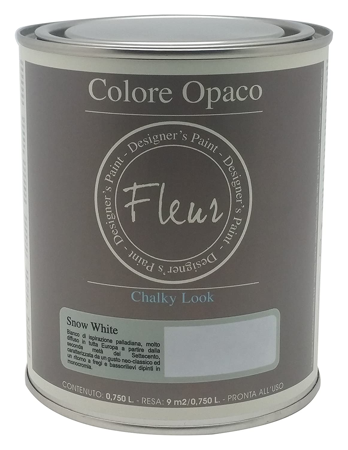 Fleur Paint 13401  –   Water Based Mineral Paint, 750  ml Colour Snow White 750 ml Colour Snow White Expresiones Decorativas Nipa