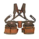 Bucket Boss Airlift 2 Bag Tool Belt with Suspenders in Brown, 50100 (Color: Brown, Tamaño: Pack of 1)