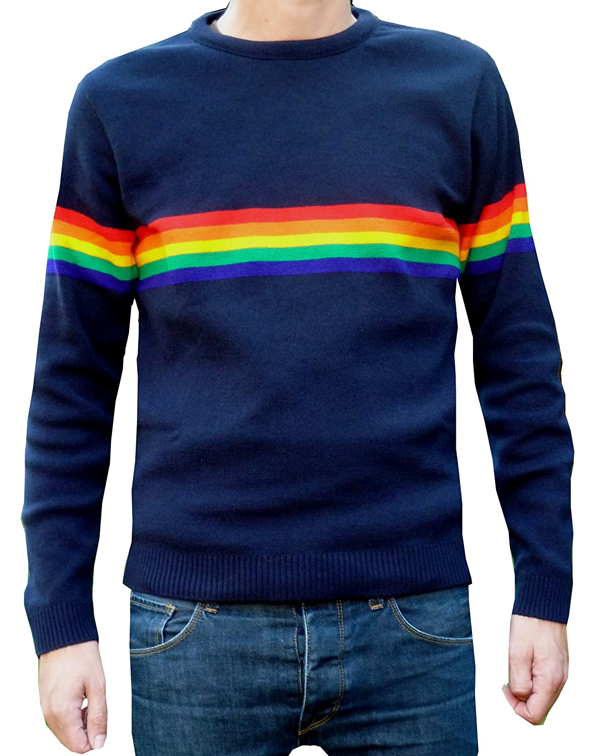 1960s Men's Clothing, 70s Men's Fashion Fuzzdandy - Mens Navy Rainbow Elo Jumper Indie Retro Vintage $38.00 AT vintagedancer.com