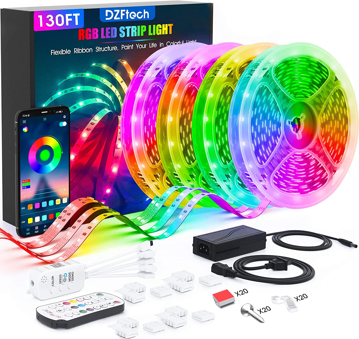 Led Strip Lights 130 Feet,DZFtech Color Changing Led Lights Strip App Control and Synchronization with Music, 1200 Lights 5050 Led Type, Led Lights for Bedroom, Room and Home Decoration