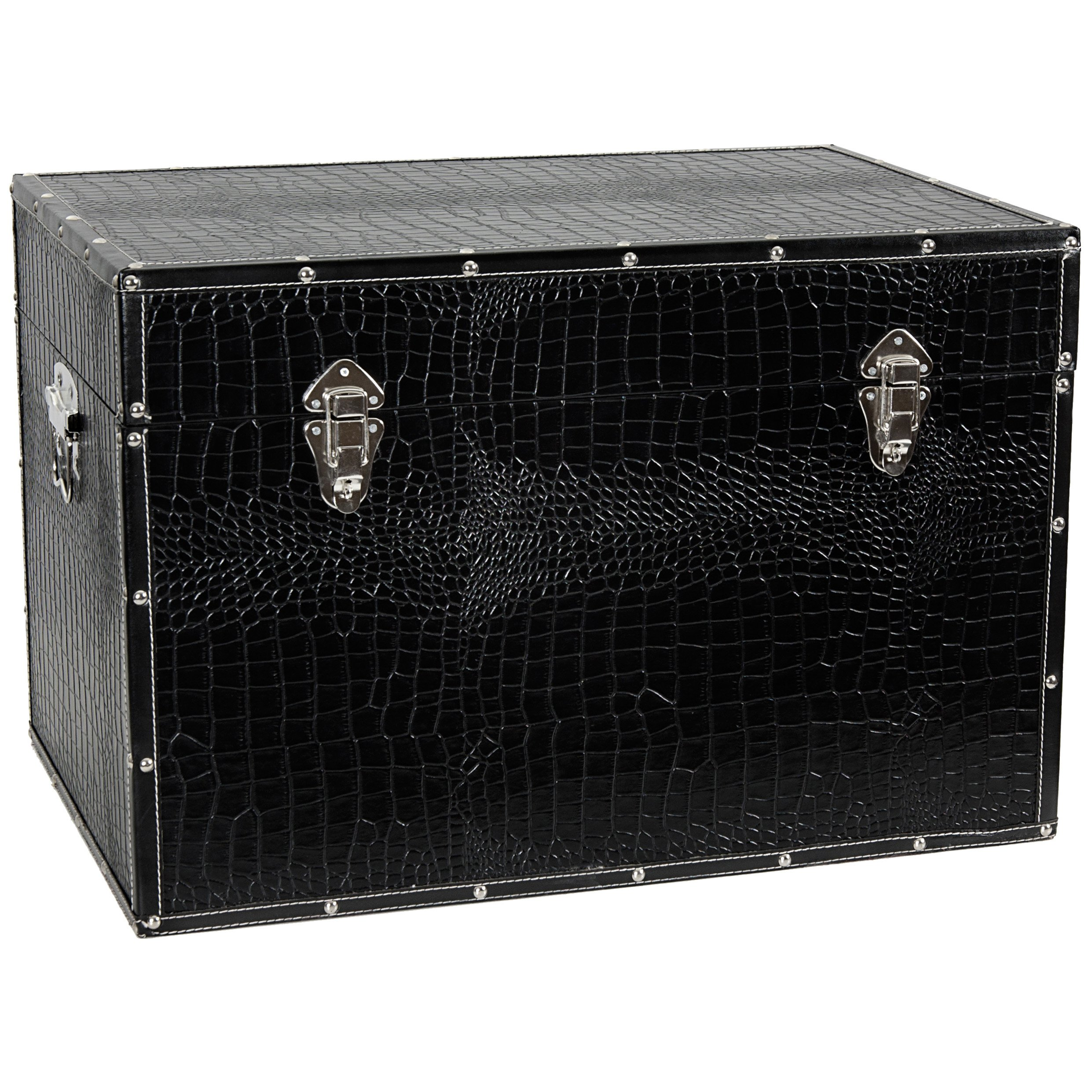 Oriental Furniture Faux Leather Black Trunk