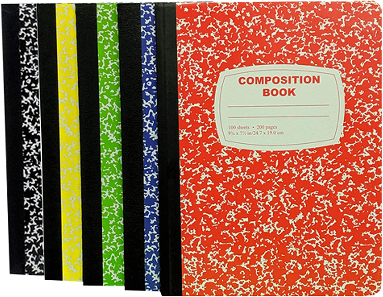 100 Sheet Composition Notebooks - School Supplies Bundle - 5 College Ruled Composition Notebooks - 1 Black, 1 Red, 1 Green, 1 Blue, and 1 Yellow (College Ruled) 91phiyTPHkL