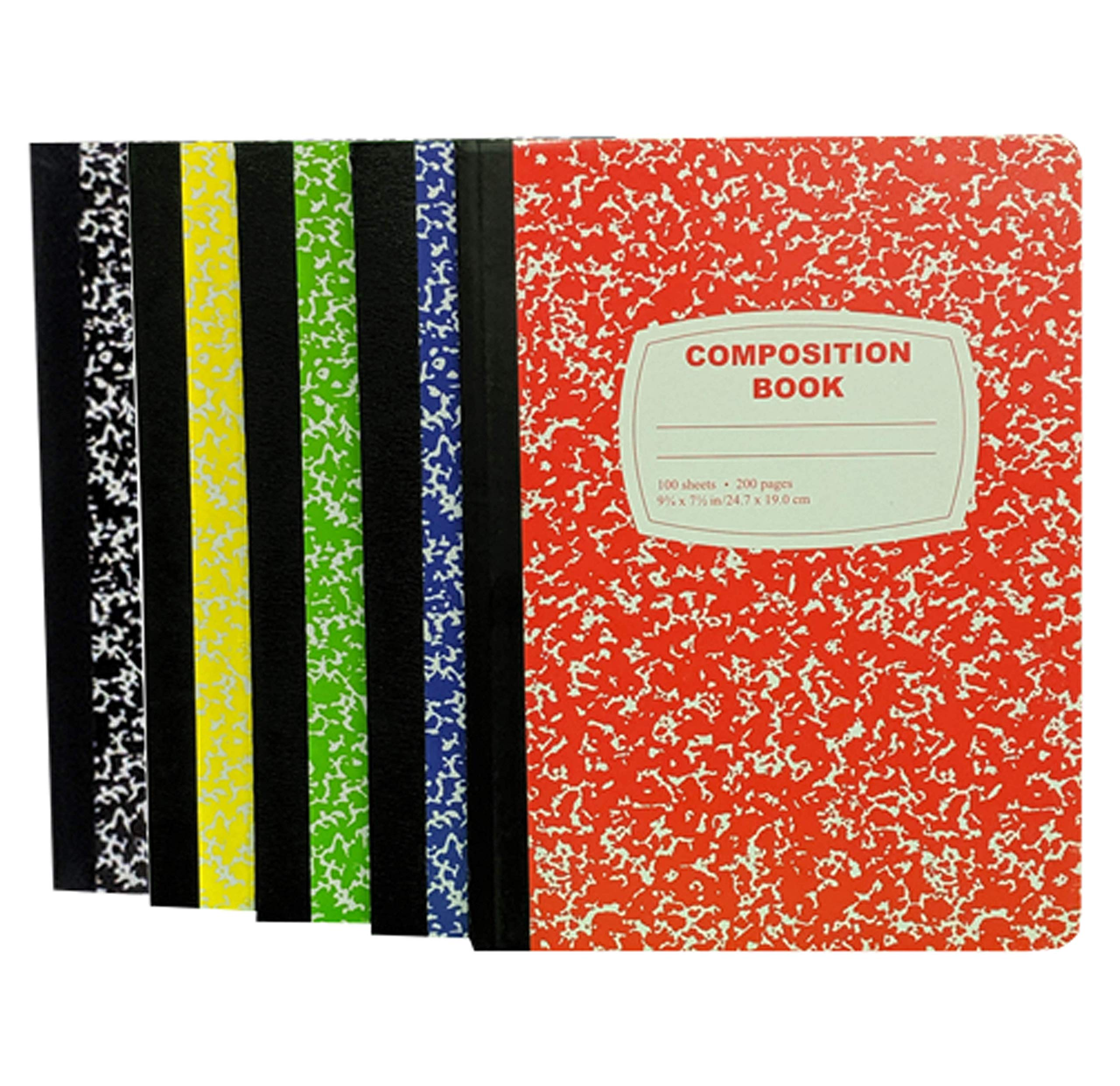 100 Sheet Composition Notebooks - School Supplies Bundle - 5 Composition Notebooks - 1 Black, 1 Red, 1 Green, 1 Blue, and 1 Yellow (College Ruled) by School Supply Boxes