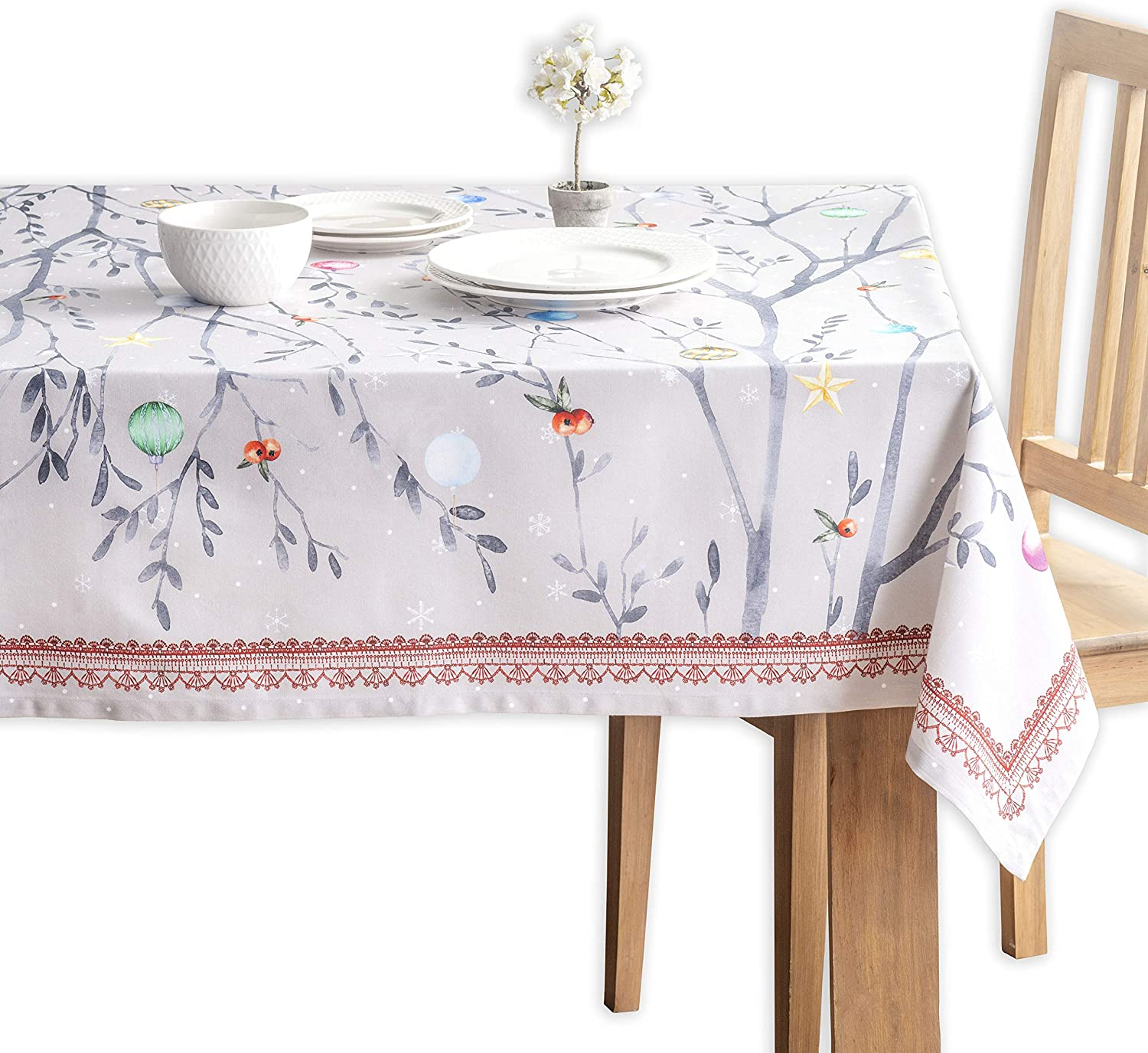 Maison d' Hermine Fairy Christmas 100% Cotton Tablecloth for Kitchen Dinning Tabletop Decoration Parties Weddings Thanksgiving Christmas (Rectangle, 60 Inch by 120 Inch)