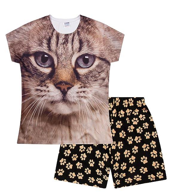 Girls Cat Blue Eyes Short Pyjamas Paw Print