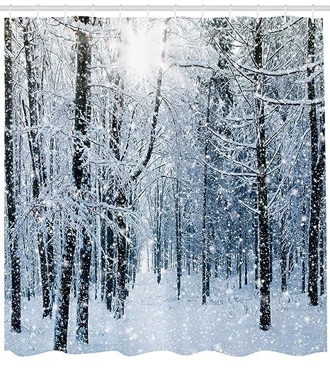 Ambesonne Cortina de ducha de invierno, con ganchos, diseño de ...