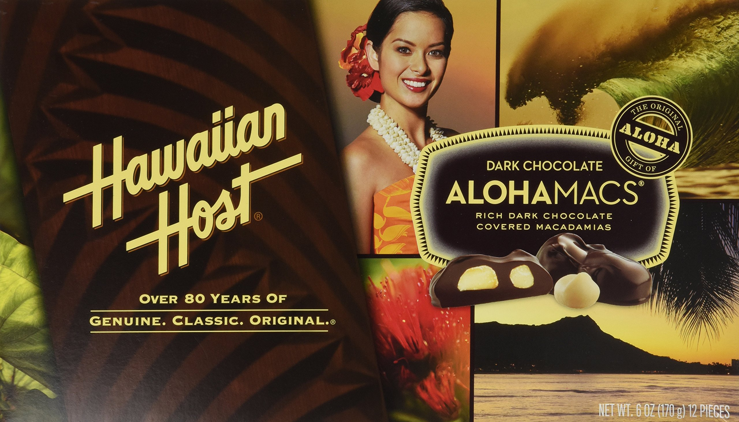 Hawaiian Host Alohamacs Dark Chocolate Covered Macadamia Nuts (1 Box) by Hawaiian Host