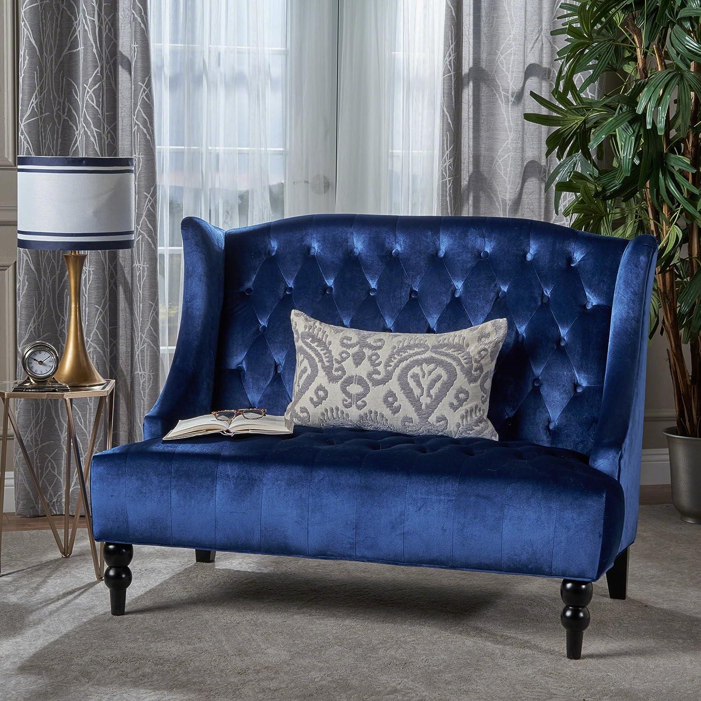 Christopher Knight Home Leora Loveseat Sofa, Navy Blue + Dark Brown