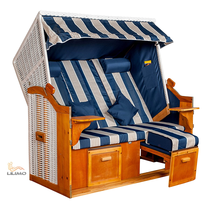 Strandkorb Ostsee BLW XXL, Bezug blau-weiß-grau Blockstreifen, LILIMO ®