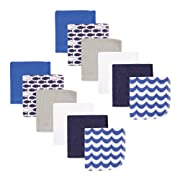 Luvable Friends 12 Piece Washcloths, Blue Fishes