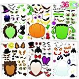 36 PCS Make-a-face Sticker Sheets Make Your Own Halloween Characters Mix and Match Sticker Sheets with Vampire, Witch…
