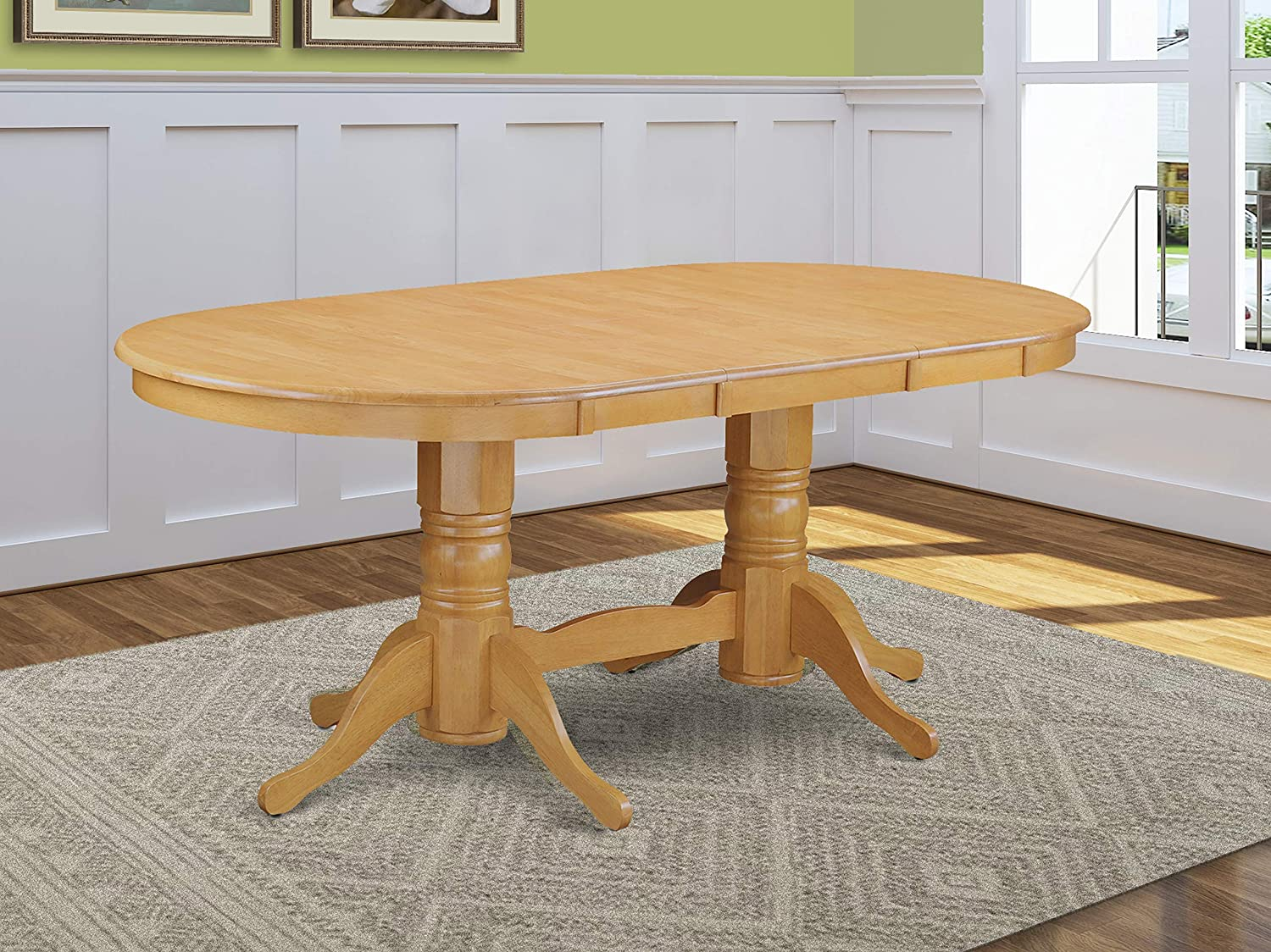 Amazon Com East West Furniture Butterfly Leaf Oval Wood Dining Table Oak Table Top And Oak Finish Double Pedestal Legs Solid Wood Frame Dinner Table Furniture Decor