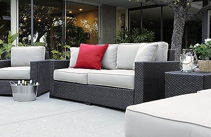 Serta Laguna Outdoor Sofa Brown Wicker With Beige Cushions