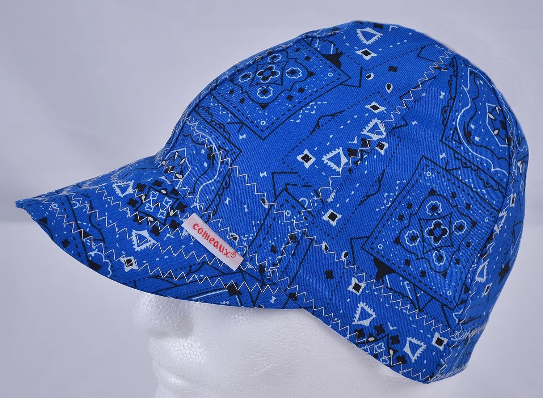 Comeaux Caps Reversible Welding Cap Blue Bandana Size 6 7 8