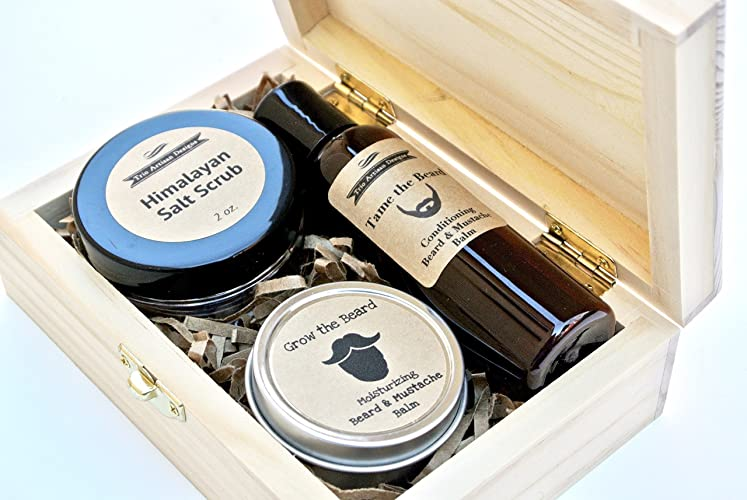 Men's Grooming Set in Wood Gift Box with Beard & Mustache Oil, Exfoliating Scrub
